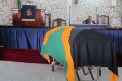 Arnold Lawson- Late Ex-Jamaica Battalion flag draped casket -March 2016
