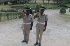 Buglers sounding the Last Post and Reveille for the late Arnold Lawson Ex- Jamaica Battalion