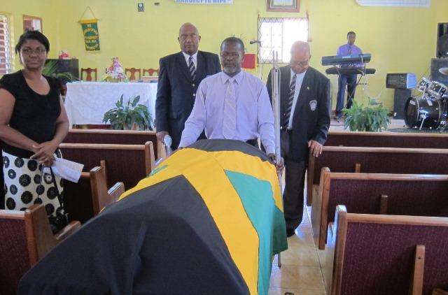Beadle Ex-JDF Flag draped casket July, 2014