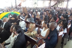 Family members seated in the forefront of a packed St. James Parish Church, Montego Bay to say final farewell to the Late Ernest Alexander Sterling
