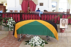 Flag draped casket for Ex-JDF Harvey Morrison