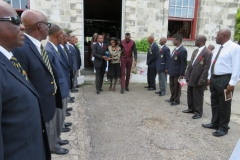 Members of the Jamaica Legion, Montego Bay Branch formed a guard of honour for the recession from the church led by his widow and sons