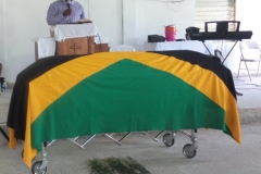 Flagged Draped Coffin for Ex -JDF Angilo James