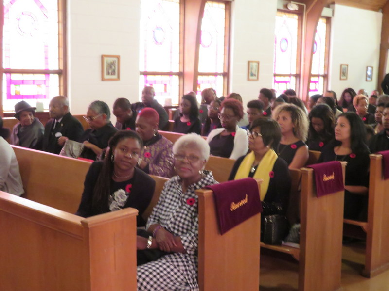 Family members and well  wishers in attendance at St. Ambrose Episcopal Church, Raleigh NC, for the  funeral service of the late Levi Bowen on Oct. 20, 201