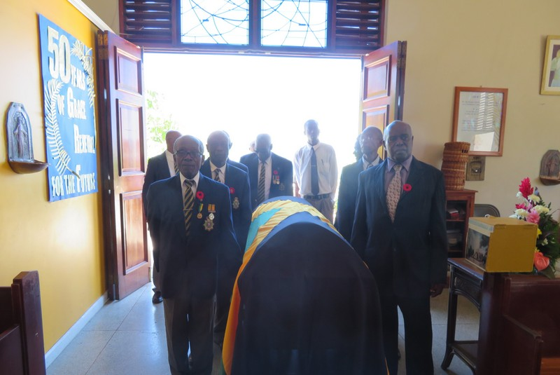 Members of the Montego Bay Branch Jamaica Legion, pallbearers at the service for the late Ex-JDF Lloyd Tapping - August 2018