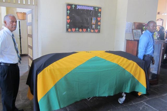 Neville Hammond Ex-RAFA Flag draped casket Nov, 2014