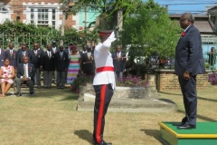 Bishop the Hon. Conrad Pitkin  J.P.,Custos of St. James, taking the general salute in remembrance of the  fallen soldiers in WW1 and WW11