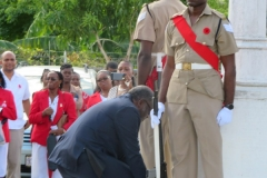 Bishop the Hon. Conrad Pitkin  J.P.,Custos of St. James laying a wreath at the Cenotaph