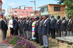 Bishop the Hon. Conrad Pitkin  J.P.,Custos of St. James inspecting the members of the Jamaica Legion,  Montego Bay Branch