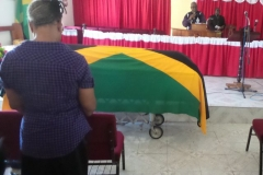 Flag draped casket for the late Ex-JDF Robert Donaldson - July 2017