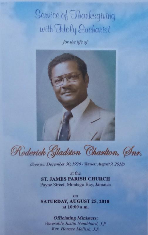 Late Ex-RAFA Roderick Gladston Charlton Snr August 25, 2018