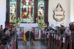 Flag draped casket for Ex-RAFA Roderick G Charlton prior to the service of thanksgiving at St. James Parish Church, August 25, 2018