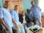 Standing from Left to Right, Members from the Montego Bay Branch Jamaica Legion: Sylvester Needham, Capt. Noylis  Amair,(Ret) Hugh Simpson (seated), Rev. Horace Mellish, and Capt. Lloyd Hamilton (Ret.)