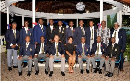 Members of the Montego Bay Branch Jamaica Legion at the Remembrance Dinner with (seated 2nd L-R) Lt. Col. Andrew Sewell J.P., Chairman of the Island Council Jamaica Legion, Lt. Col. Noylis Amair J.P., Branch Chairman and Guest Speaker Mrs. Claudette Bryan J.P., President of the Lay Magistrate Association, St. James.