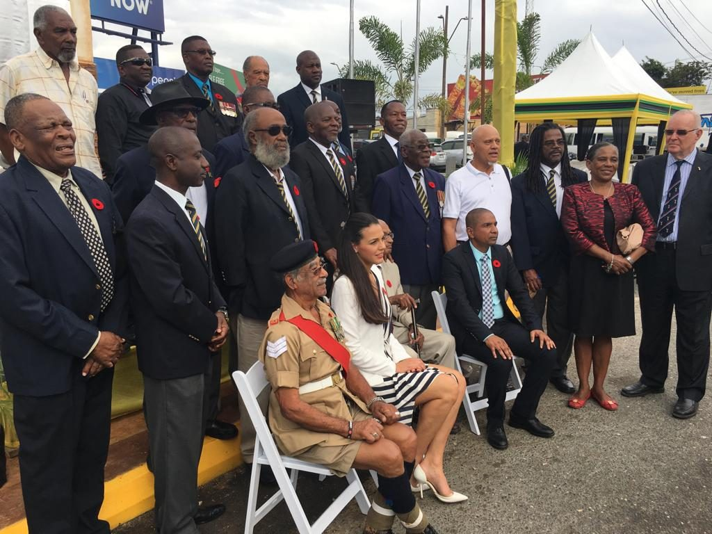 Seated 2nd left, Her Worship the Mayor of Gibraltar Kaiane Aldorino Lopez, Ex-RAFA James Crouch, and His Worship the Mayor Senator Cllr. Delroy H. Williams.